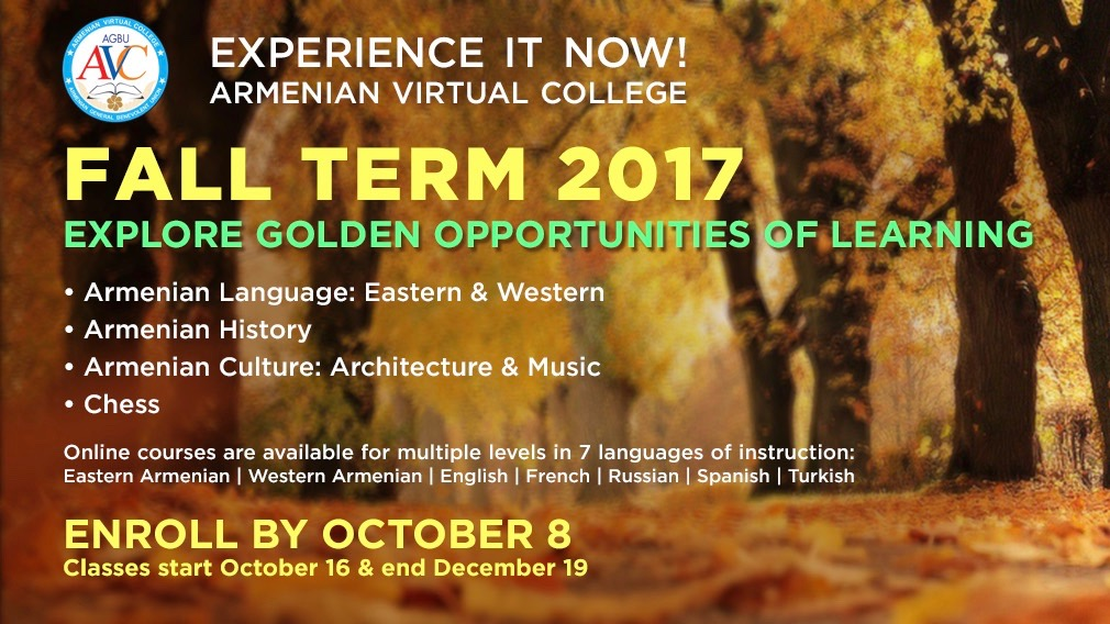 Armenian Virtual College: Fall Term Registration Opens