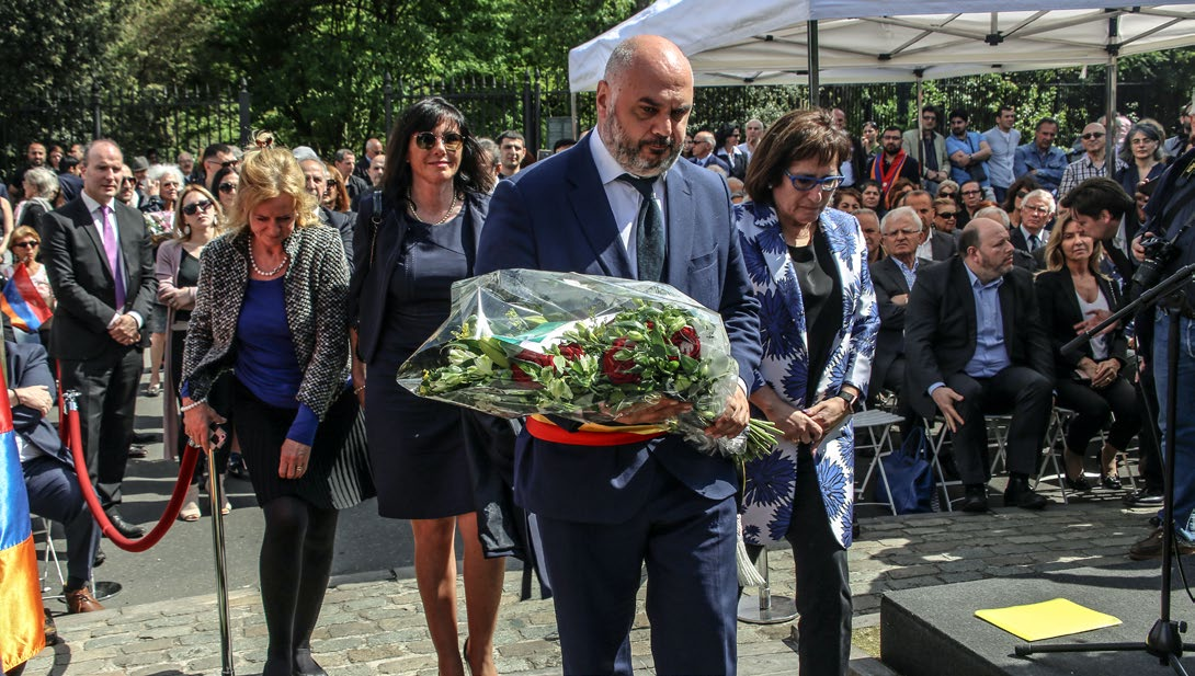 Officials gathered at the April 24 commemoration in Brussels